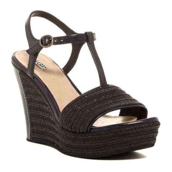UGG Black Fitchie T-Strap Open Toe Wedge Sandal